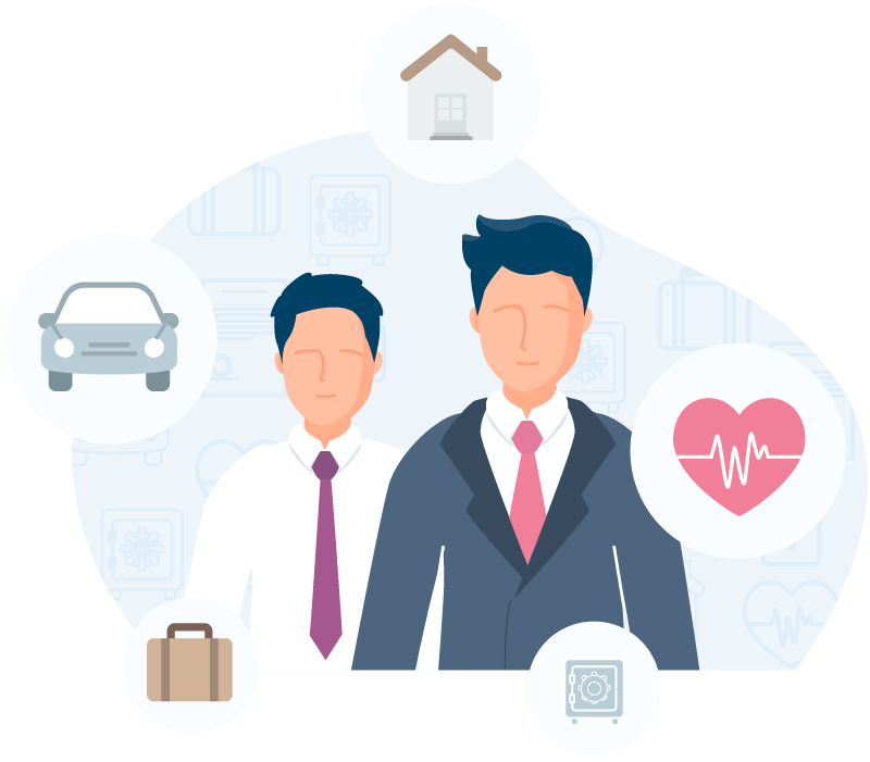 graphic of a person surrounded by insurance icons